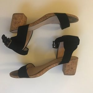 JustFab Black Cork Sandals (Size 8.5)